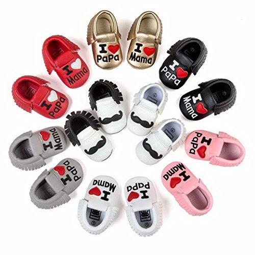 Happy Cherry Zapatos con Borlas Mocasines de PU Piel Suaves Zapatitos Primeros Pasos Calzado Infantil para 3-18 Meses Bebés Niñas Niños Baby Shoes Negro
