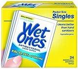 Wet Ones Wipes, Hands & Face, Antibacterial, Citrus Scent, Singles, 24 ct.