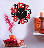 Sehaz Artworks Big Num Black and Red Wood Wall Clock (25.5 cm x 25.5 cm x 2.8 cm)