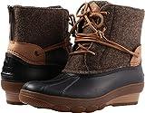 Sperry Top-Sider Women's Saltwater Wedge Tide Wool Rain Boot, Brown/Canteen, 7 Medium US