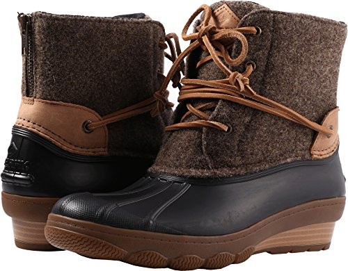 Tie Top Leather Sperry Sider (Sperry Top-Sider Women's Saltwater Wedge Tide Wool Rain Boot, Brown/Canteen, 7 Medium US)