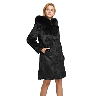 Fur Story Women s Long Real Rabbit Fur Coat with Fox Fur Hood Warm Coat  Full Sleeve 98f5ed54e8