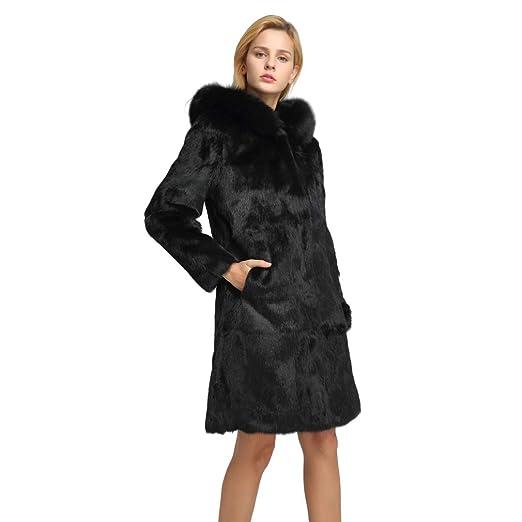 ce87131e981d Fur Story Women's Long Real Rabbit Fur Coat with Fox Fur Hood Warm Coat  Full Sleeve