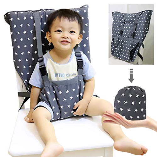 Portable Baby High Chair Safety Seat Harness for Toddler, Travel Easy High Booster Seat Cover for Infant Eating Feeding Camping with Adjustable Straps Shoulder Belt,Holds Up to 38lbs. (Travel High Chair Cloth)
