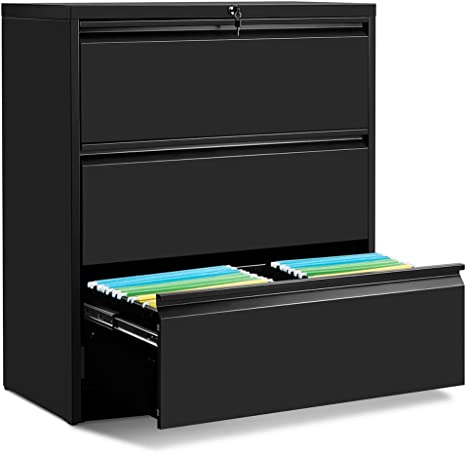 Amazon Com Lateral File Cabinet 3 Drawers With Lock Heavy Duty Lateral Filing Cabinet Steel Construction Black Kitchen Dining