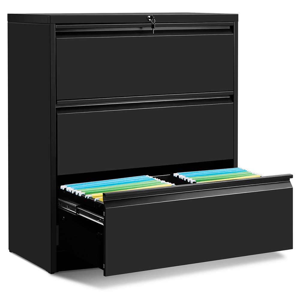 ModernLuxe 3-Drawer Heavy-Duty Lateral File Cabinet Black 35.4''W×17.7''D × 40.3''H by ModernLuxe