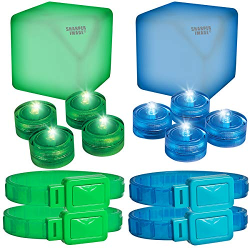 Sharper Image LED Glowing Capture The Flag Outdoor Yard Tag Team Game for Kids and Adults, Expandable Four Player Glow-in-The-Dark Kit, Easy Set Up Anywhere, Nighttime or Daytime - Game Pack Glow