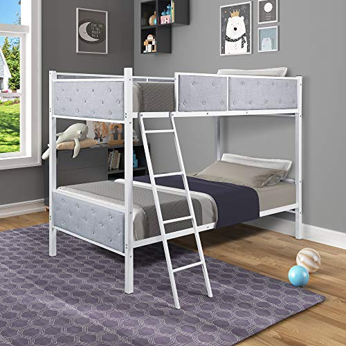 Bunk-Bed-Twin-Size-Bed-with-Upholstered-Linen-Kids-Bed-with-Safety-Railing-Ladder-for-Boys-Girls-Grey