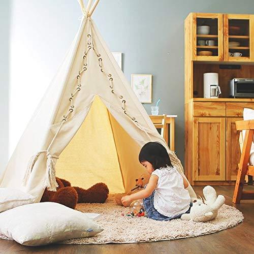 ティピーテント キッズ 子供用 ハウス 室内 簡易 おもちゃ インディアン おしゃれ B07STT97DK ホワイト