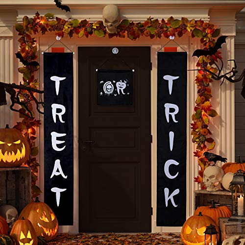 Jetec 3 Set Trick or Treat Halloween Banner Garland Home Door Sign with 4 Pack Suction Cup Wall Hooks Hangers for Home Office Outdoor Halloween Decor by Jetec (Image #1)