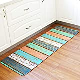 NOMSOCR Bathroom Printed Carpet Rug, Super Soft Microfiber Bathroom Mat, Non-Slip, Water Absorbent, Washable Bath Rug and Mat for Tub, Shower, Kitchen and Bath Room (21.6x63inches, Blue)