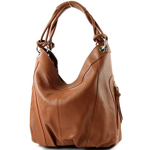 ModaModa Italian Women's Shoulder Bag Leather Nappa 42x16x30 cm Large Colour Choice Z18 Cognac Leder