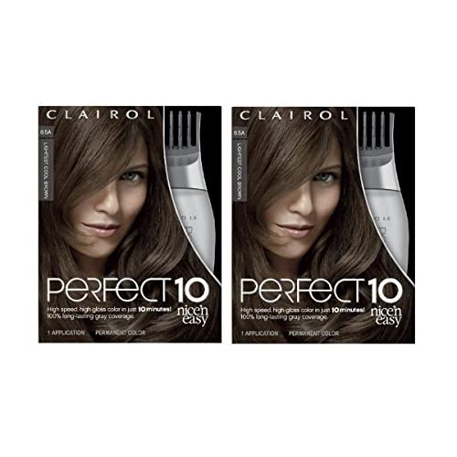 Cheap Clairol Perfect 10 By Nice 'N Easy Hair Color Kit (Pack of 2), 006.5A Lightest Cool Brown, Includes Comb Applicator, Lasts Up To 60 Days supplier