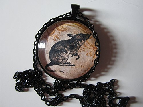 rat-rodent-pet-15-round-glass-pendant-necklace-with-matching-24-chain