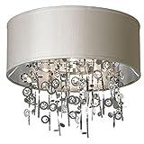 Dainolite Lighting PIC164FH-PC-PEB 4-Light Crystal Semi Flush Chandelier