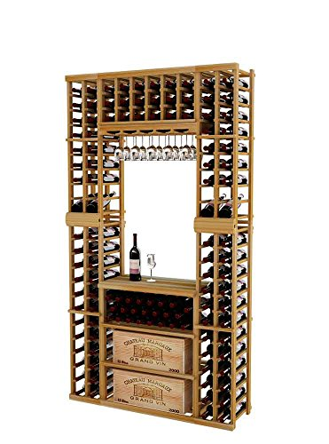 Vintner Series Wine Rack Tasting Center with Top Rack Displays and Case Storage for 156 Bottles - 7 Ft - Premium Redwood with Unstained - Glass Rack Option (All Glass Display Case Series)