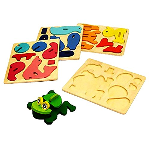 3D Wooden Sea Animals Assembly Toy - 4 pack Assorted DIY Sea Animals Wooden Puzzle Arts and Crafts Activity Set of 4 Wooden Amphibious Animals Stacking Toys ()