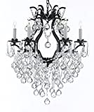 Swarovski Crystal Trimmed Chandelier! Wrought Iron Crystal Chandelier Lighting H 27″ W 20″ Great for Bedroom, Kitchen, Dining Room, Living Room, and More! Review