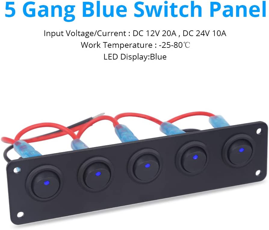 HERCHR 5 Gang Marine Toggle Rocker Switch Panel Waterproof with LED on-Off Button for RV Car Boat Vehicle Truck Ship SUV Blue DC 12V//24V LED