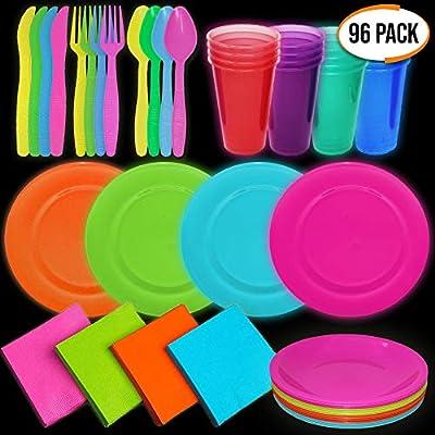 96 Piezas - Vajilla de Fiesta de Plástico Desechable de Neón - 16 Platos 16 Vasos 16 Servilletas 48 Cubiertos (16 Cuchara 16 Tenedor 16 Cuchillo) - ...