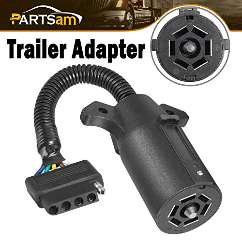 Partsam 7 Way Round to 5 Way Flat Connector Truck Trailer Wiring Adapter Connector, Heavy Duty 7 pin to 5 pin Trailer Adapter Plug Weatherproof ()