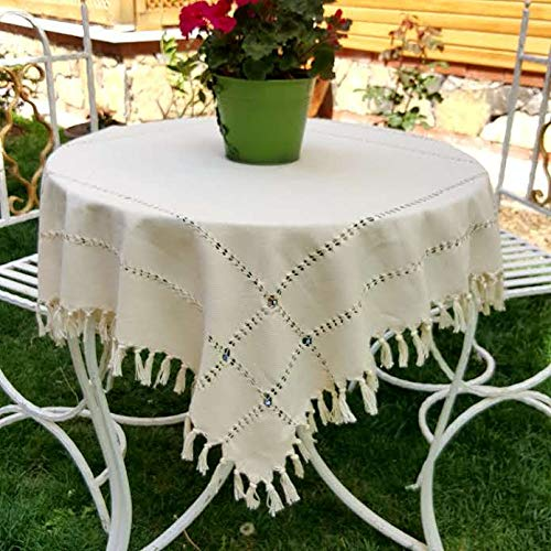 "Secret Sea Collection Handmade Cotton Square Tablecloth Decorated with Blue Beads (53"" X 53"")"