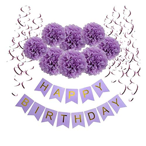 BROSCO Happy Birthday Banner Set Foil Swirls Paper Flower Pompom Party Decorations | Color - Purple