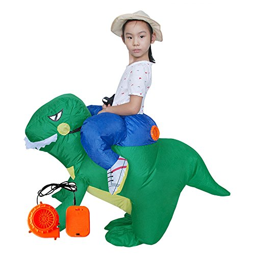 ANOTHERME Dinosaur Riding T-REX Inflatable Fancy Dress Holiday Party Blow Up Costume for Adults Or Child Green -