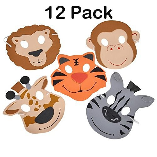 12 Foam Animal Masks 7.5 Inch 4 Different Sorts Of Animals - Good For Kids Costume Parties - By Katzco