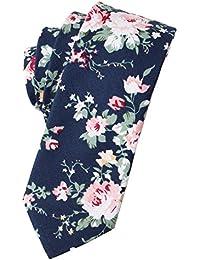 Skinny Ties Men's Cotton Printed Floral Neck Tie