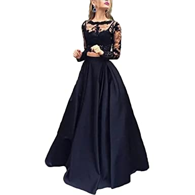 Dimei Womens Two Piece Prom Dresses Long Sleeve Lace Evening Party Ball Gowns 2018