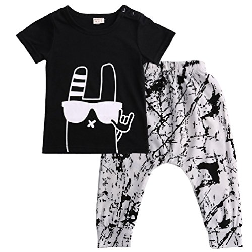 Baby Boys Long Sleeve Striped Tops Pants Trouser Outfit (Black+Grey) - 7