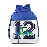 HYRONE Seattle #12 Seahawks Teenager School Bag Backpack For 1-6 Years Old RoyalBlue