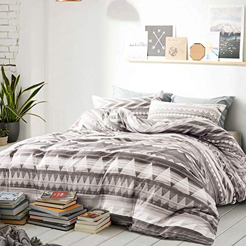 Modern Geo Aztec Duvet Cover Striped Ethnic Boho Southwestern Native Navajo Tribal Diamond Vector 400TC Cotton Bedding 3pc Set Bohemian Geometric Print (Taupe, Full/Queen)