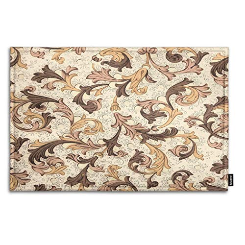 (Mugod Vintage Flowers Indoor/Outdoor Doormat Floral Pattern from 18th Century Funny Doormats Bathroom Kitchen Decor Area Rug Non Slip Entrance Door Floor Mats, 18