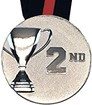 Decade Awards 3D Place Cup Medal - Gold, Silver or Bronze - Place Medallion with V Neck Ribbon - 3 Inch Wide