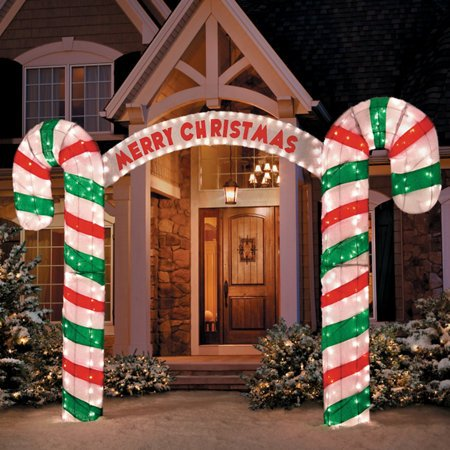 amazoncom 7 ft tall 3d archway magical unique large candy cane arch way walk thru north pole entrance christmas wonderland yard decoration home kitchen - Christmas Arch Decorations