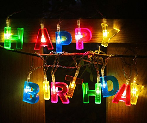 Happy Birthday Lights 13 LED Birthday Letter Battery Operated String Lights For Birthday Decorations Birthday Party Decor Indoor Home Lighting -