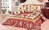 Tache 6 Piece Red Spring Blooms Patchwork Comforter Quilt Set, Queen
