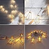 Lamp String,coersd Rose Gold Diamond Shape LED String Courtyard Decorative Drip Light String