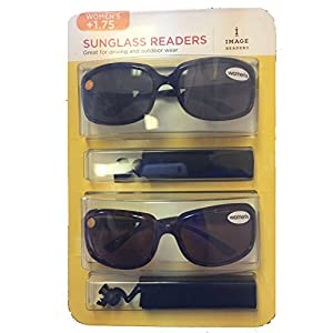 Image Readers Womens 2 Pack Trendy Frame Reading Sunglasses Glasses Block Out Ray UV and Gamma w/ +1.75 Magnification Viewing Pleasure Black Brown W/ Carry Pouch Driving Outdoor Safe Curved Lens