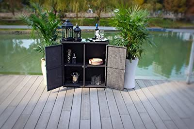 Outdoor Wicker and Rust Proof Aluminum Serving Bar / Buffet Table Unit - Black