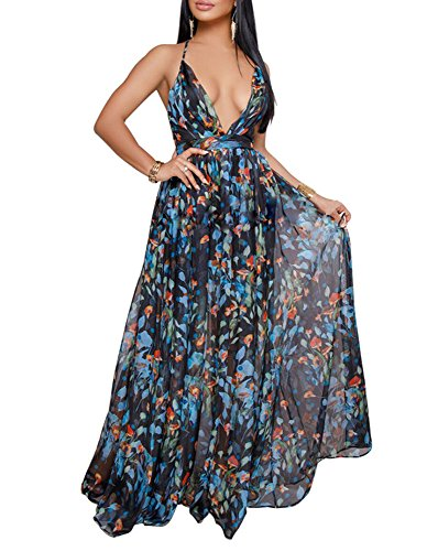Remelon Womens Sexy Spaghetti Strap Deep V Neck Floral Boho Criss Cross Backless Chiffon Beach Party Long Maxi Dress Blue S ()