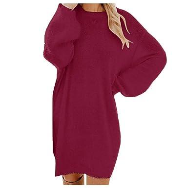 MERICAL Vestido de suéter de Manga Larga con Cuello Redondo en ...