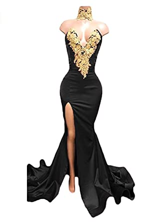 Dressesonline Womens Sexy Mermaid Prom Dress Gold Appliques Long Split Evening Gowns US2