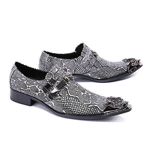 Party Monk Formal Cuero Gray De A De Tuxedo Ons amp; Boda Zapatos Slip 38 Straps Serpiente 46 Hombres Tamaño Vestido AwqrAzIvx