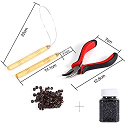 5 Pc Kit for Micro Ring Link Hair Feather Extensions: Pliers+Micro Pulling Needle+Loop Threader+100pcs Brown micro beads hair extensions+500pcs Black/Brown Silicone Nano Rings Beads (#1B Black Beads)