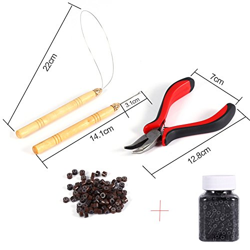 Price comparison product image 5 Pc Kit for Micro Ring Link Hair Feather Extensions: Pliers+Micro Pulling Needle+Loop Threader+100pcs Brown micro beads hair extensions+500pcs Black/Brown Silicone Nano Rings Beads (#1B Black Beads)