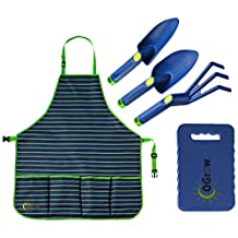 Ogrow Complete Gardening Kit-3 Piece Tool Set, Apron and Kneeling Pad, Grey