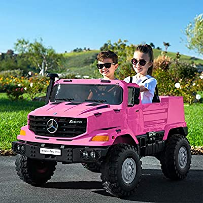 Best Choice Products Kids 24V 2-Seater Mercedes-Benz Ride On SUV Truck w/ 3.7 MPH Max, Lights, AUX Port, Sounds - Pink: Toys & Games